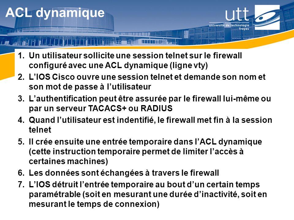 ACL dynamique Un utilisateur sollicite une session telnet sur le firewall configuré avec une ACL dynamique (ligne vty)