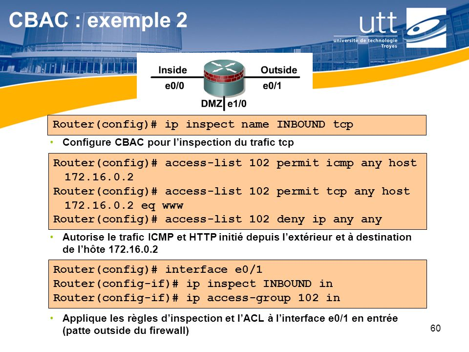 CBAC : exemple 2 Router(config)# ip inspect name INBOUND tcp