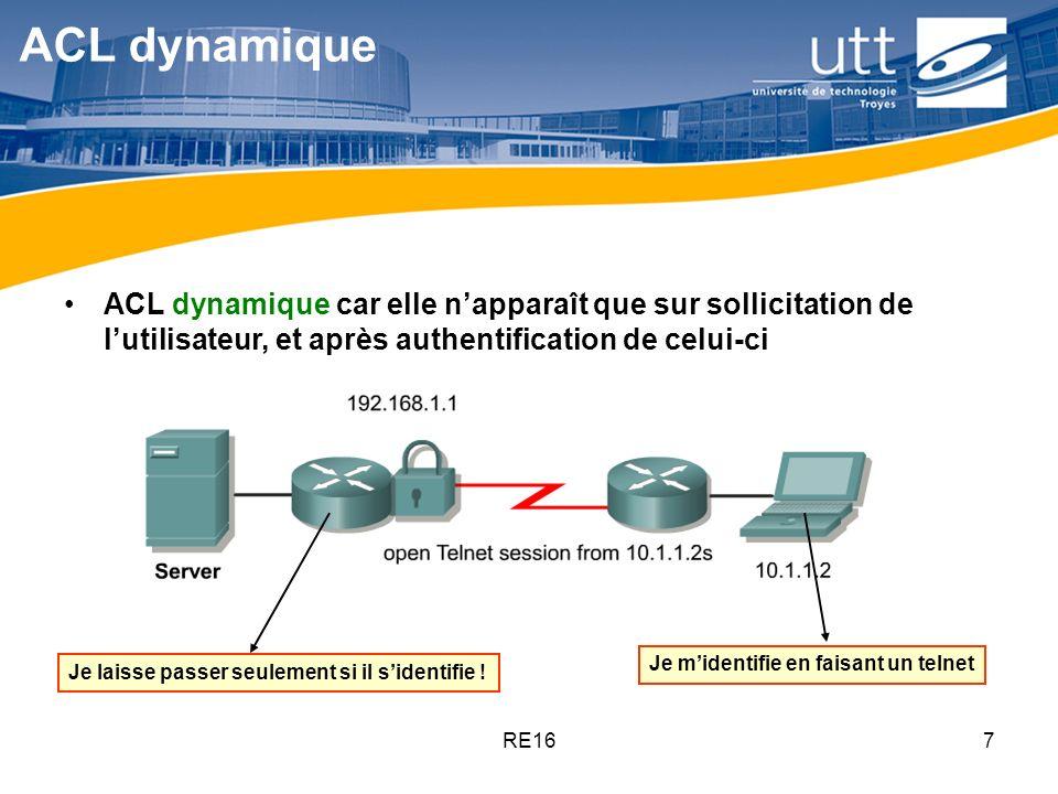 ACL dynamique ACL dynamique car elle n'apparaît que sur sollicitation de l'utilisateur, et après authentification de celui-ci.