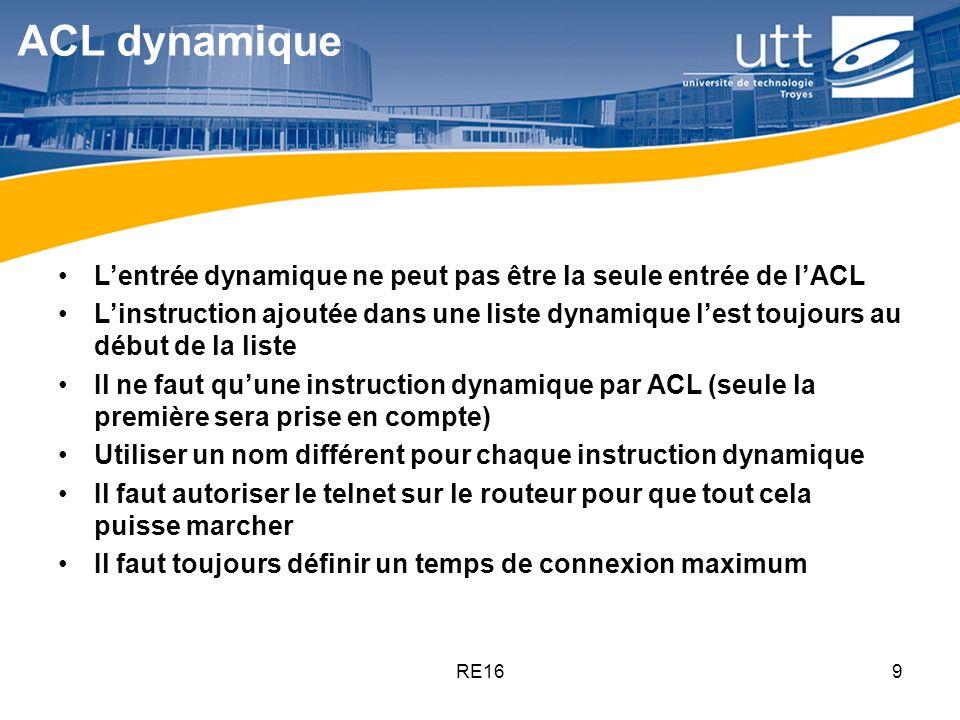 ACL dynamique L'entrée dynamique ne peut pas être la seule entrée de l'ACL.