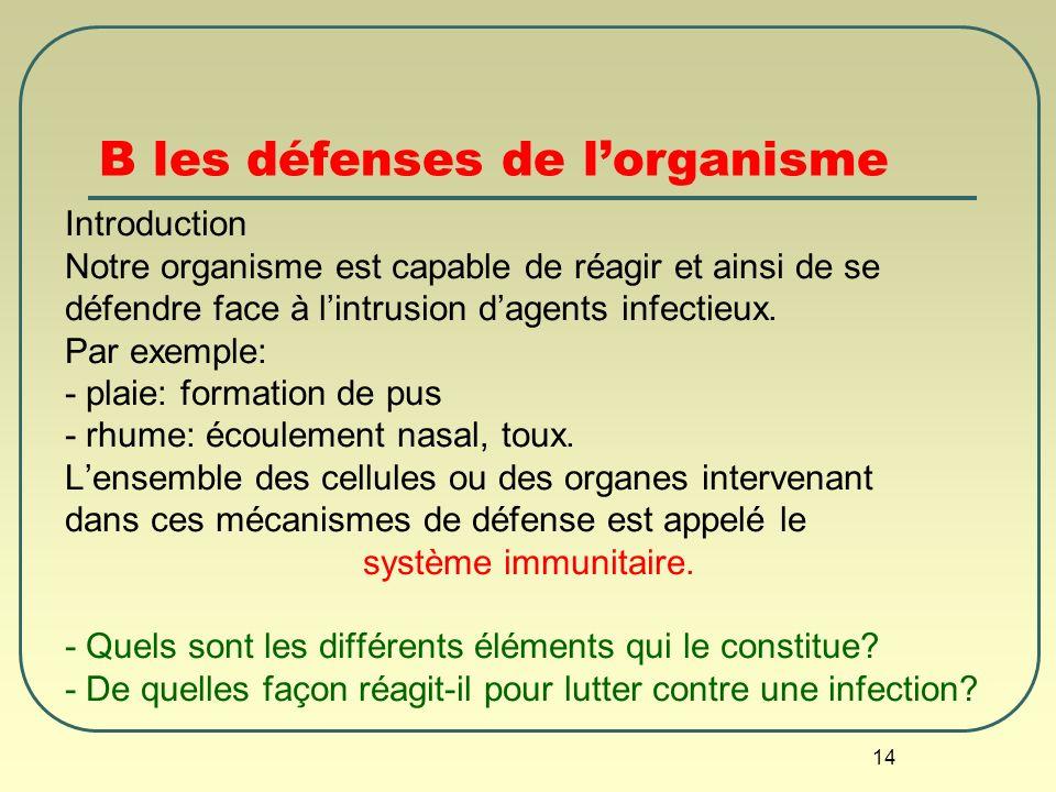 B les défenses de l'organisme