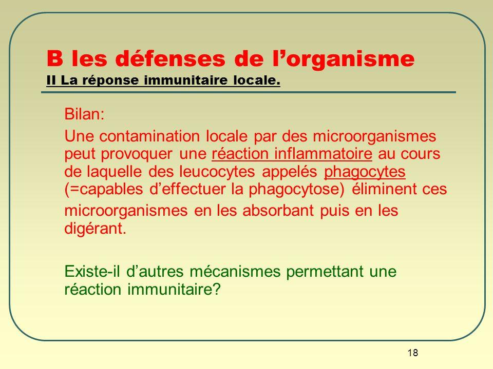 B les défenses de l'organisme II La réponse immunitaire locale.