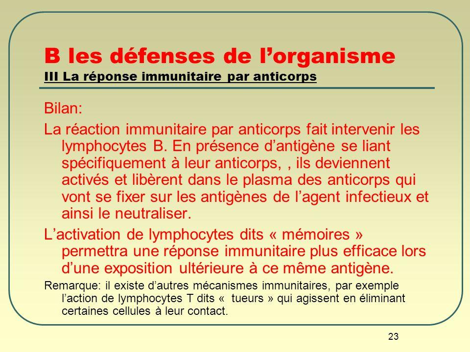 B les défenses de l'organisme III La réponse immunitaire par anticorps