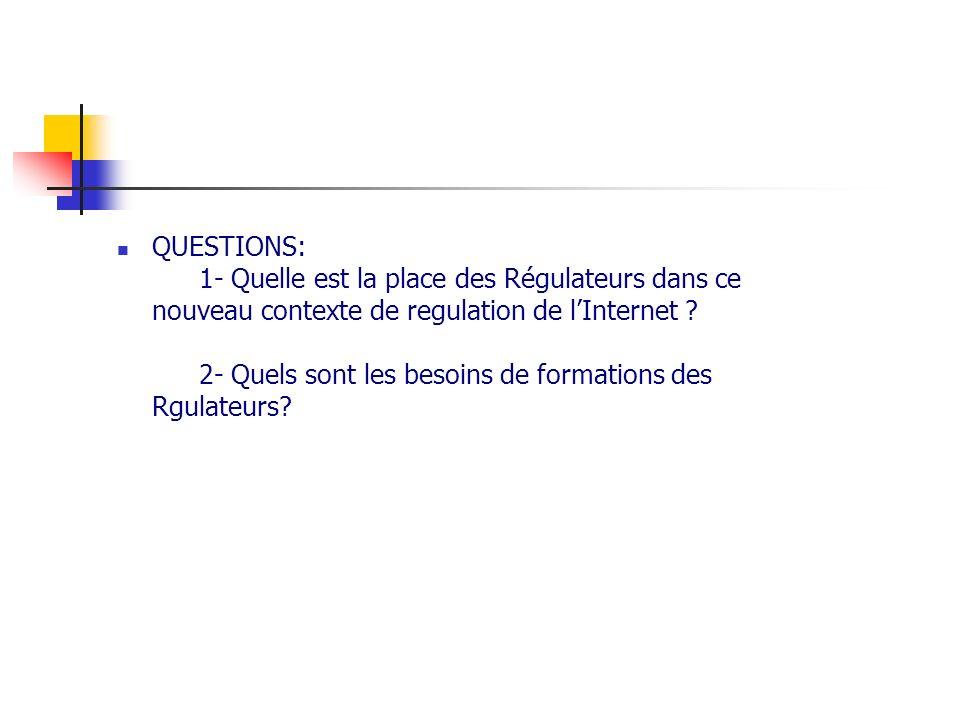 QUESTIONS: 1- Quelle est la place des Régulateurs dans ce nouveau contexte de regulation de l'Internet .