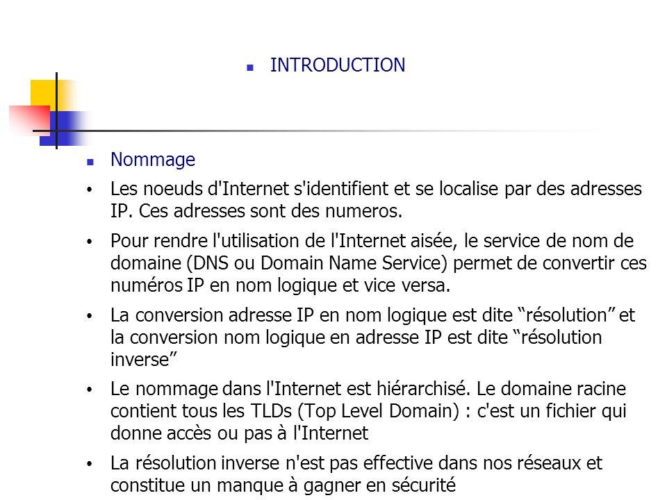 INTRODUCTION Nommage. Les noeuds d Internet s identifient et se localise par des adresses IP. Ces adresses sont des numeros.