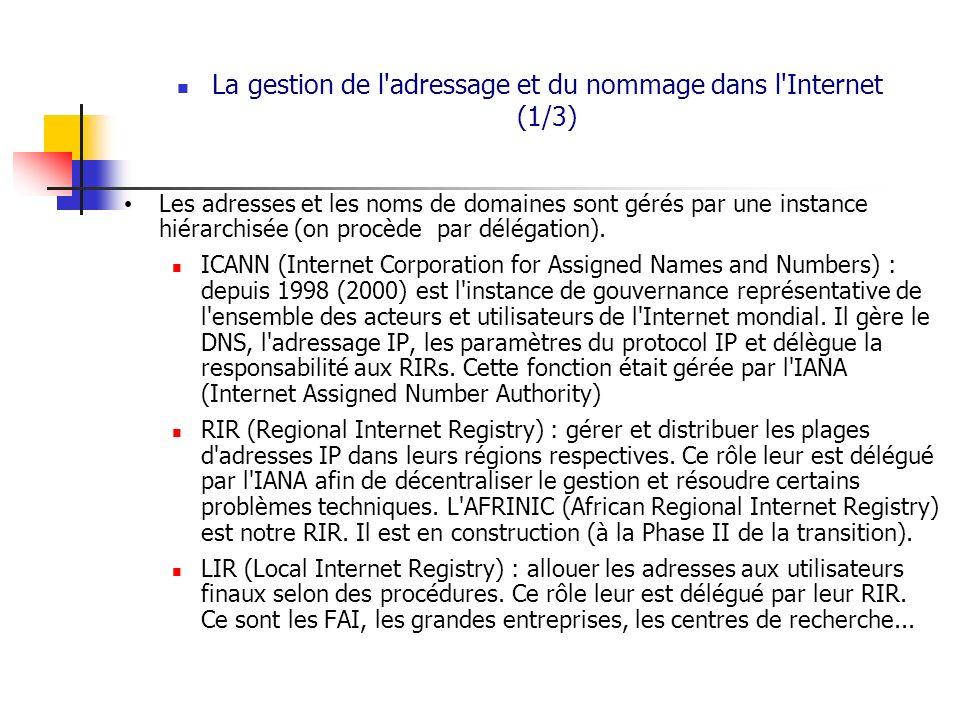 La gestion de l adressage et du nommage dans l Internet (1/3)
