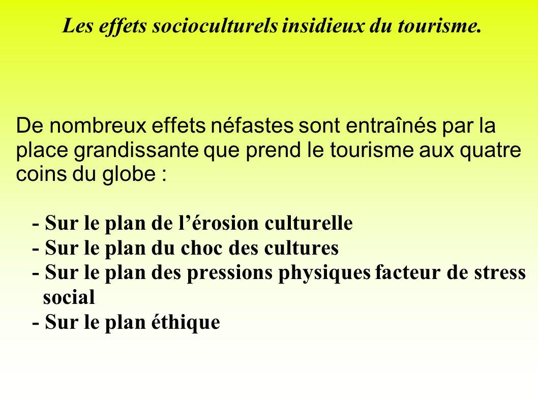 Les effets socioculturels insidieux du tourisme.
