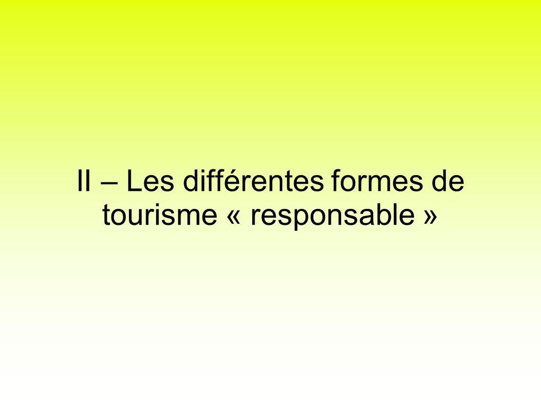 II – Les différentes formes de tourisme « responsable »
