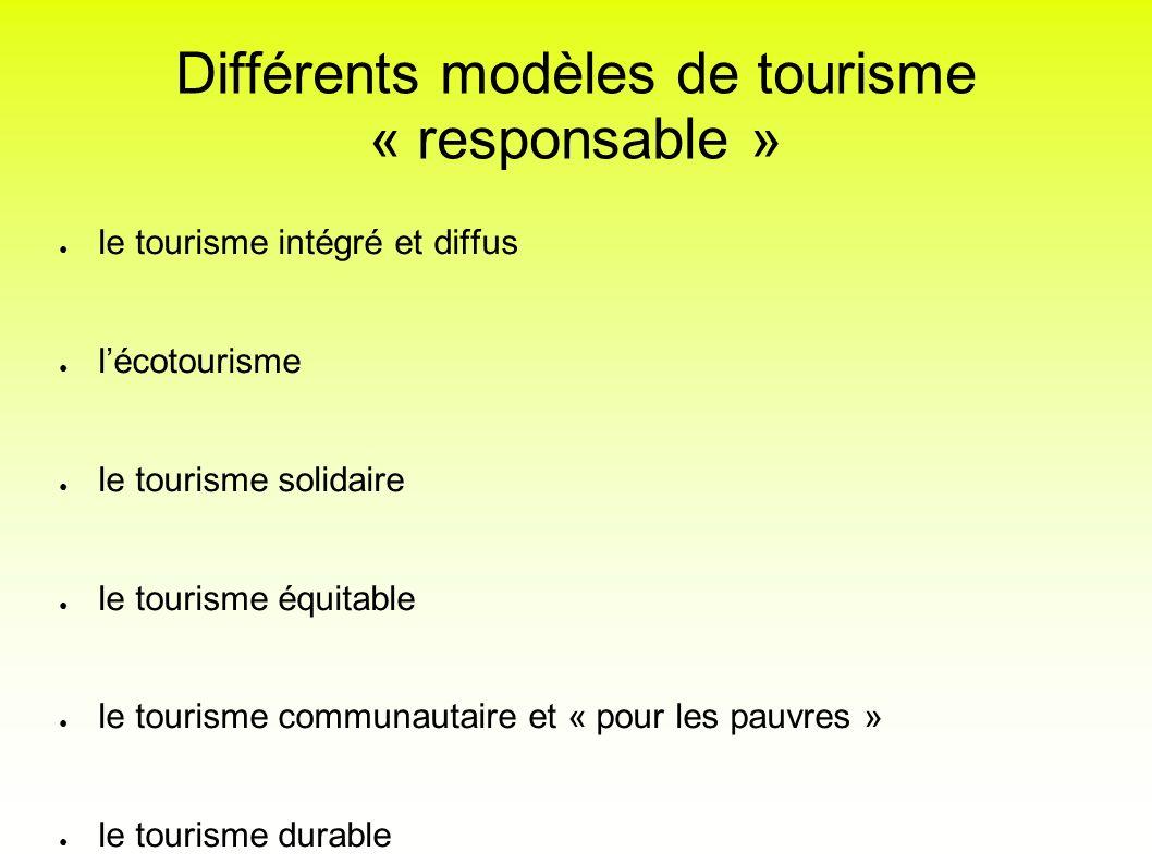 Différents modèles de tourisme « responsable »