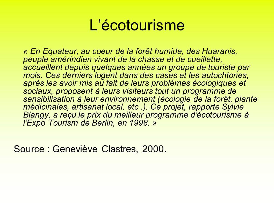 L'écotourisme Source : Geneviève Clastres, 2000.