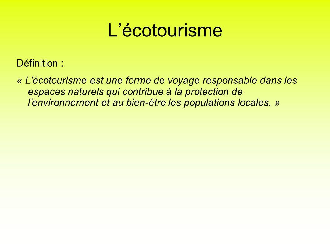 L'écotourisme Définition :