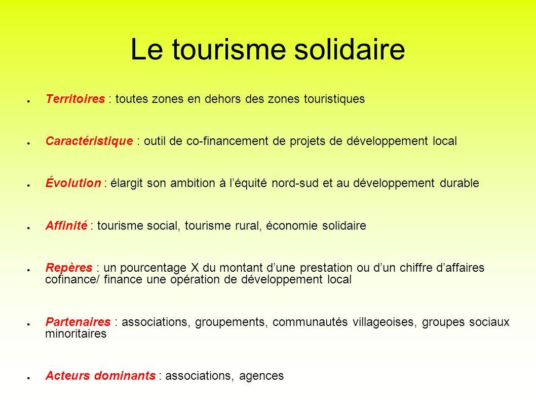 Le tourisme solidaire Territoires : toutes zones en dehors des zones touristiques.