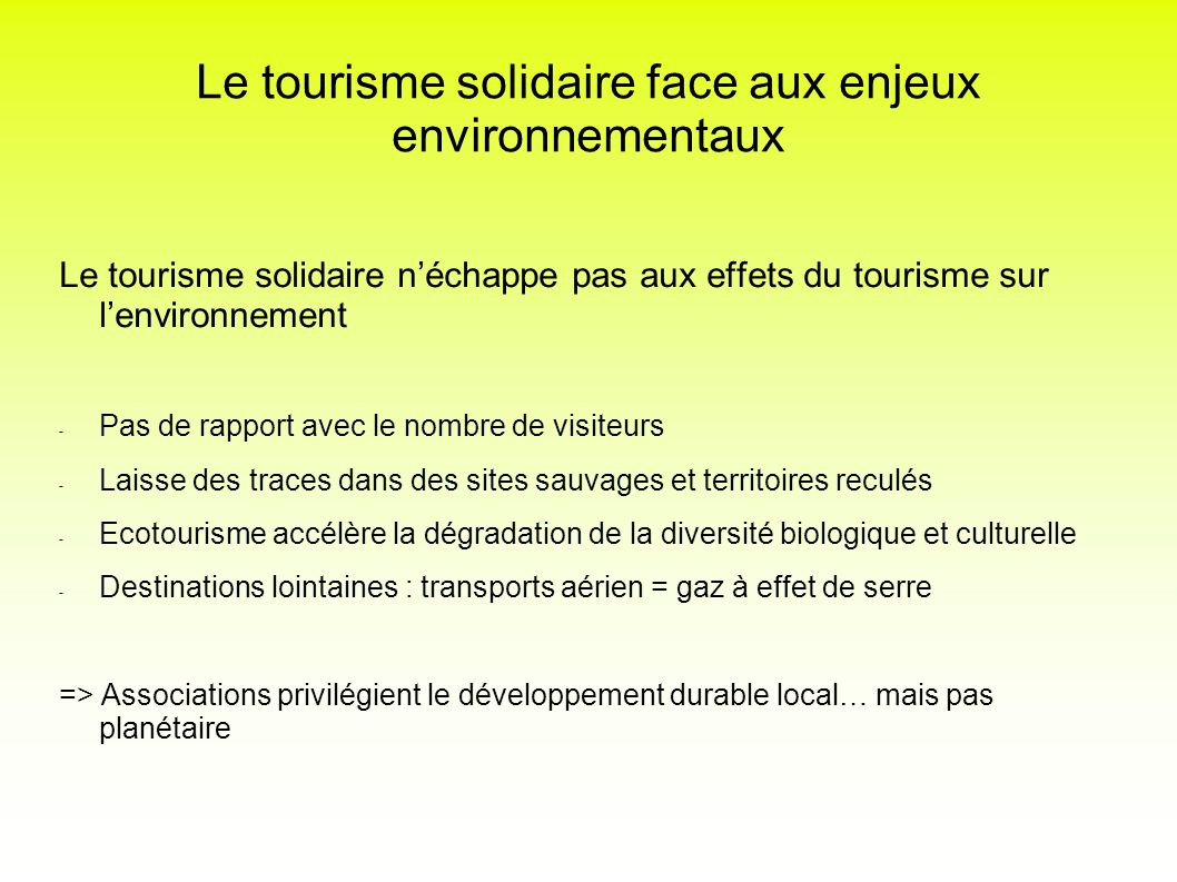 Le tourisme solidaire face aux enjeux environnementaux