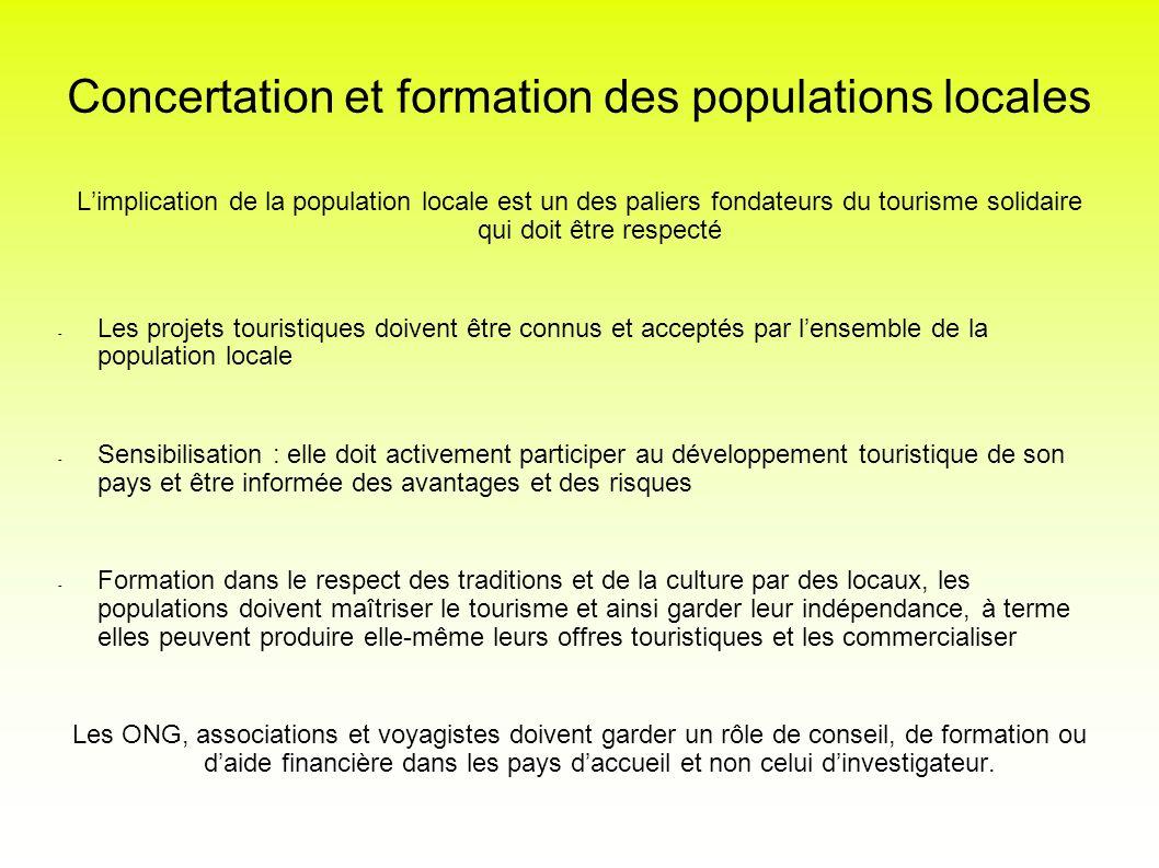 Concertation et formation des populations locales