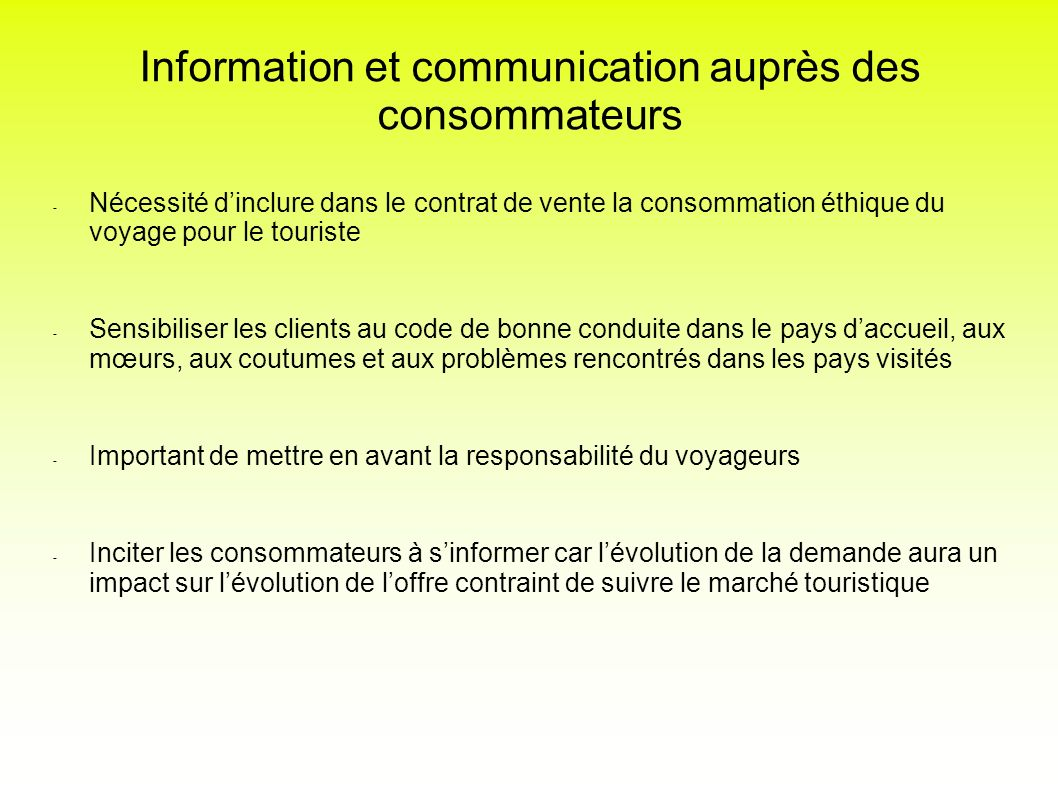 Information et communication auprès des consommateurs