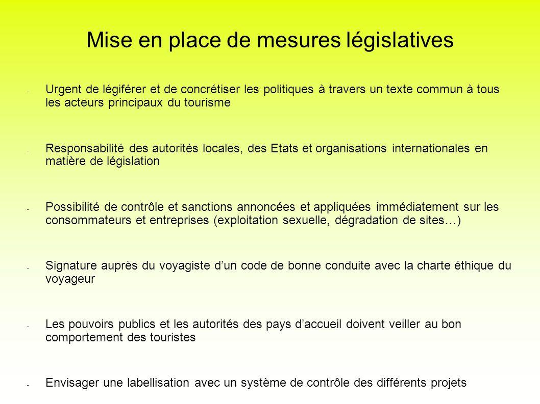 Mise en place de mesures législatives