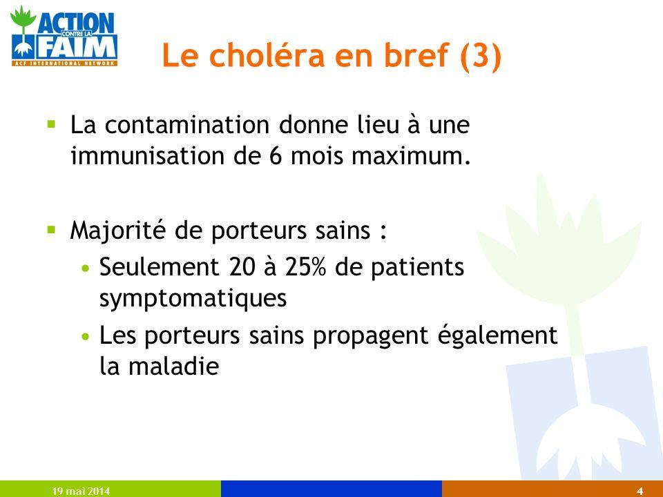 Le choléra en bref (3) La contamination donne lieu à une immunisation de 6 mois maximum. Majorité de porteurs sains :