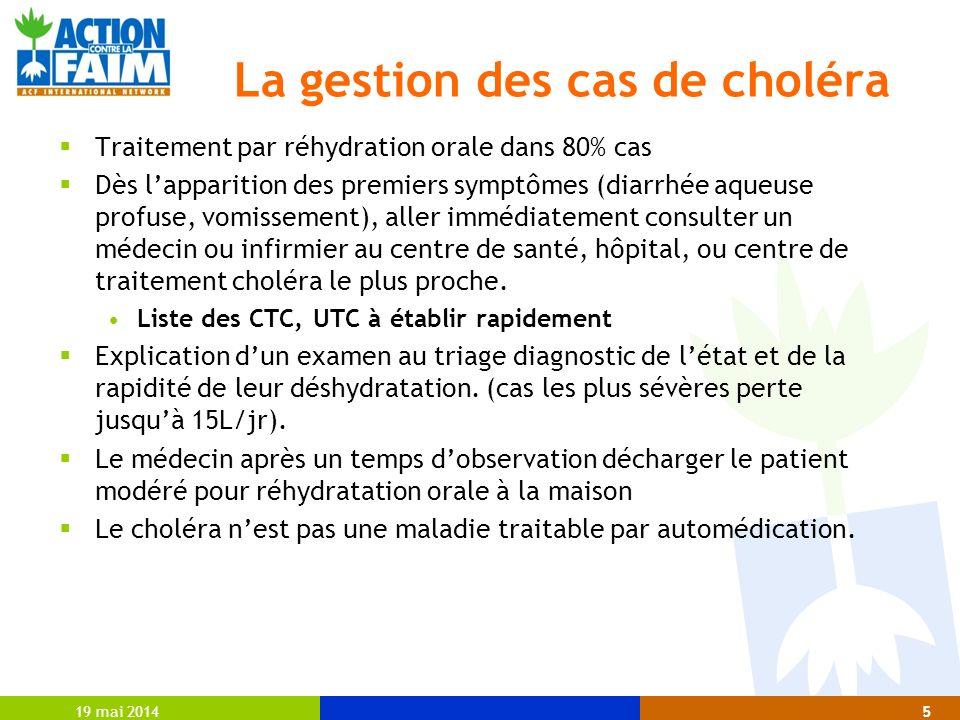 La gestion des cas de choléra
