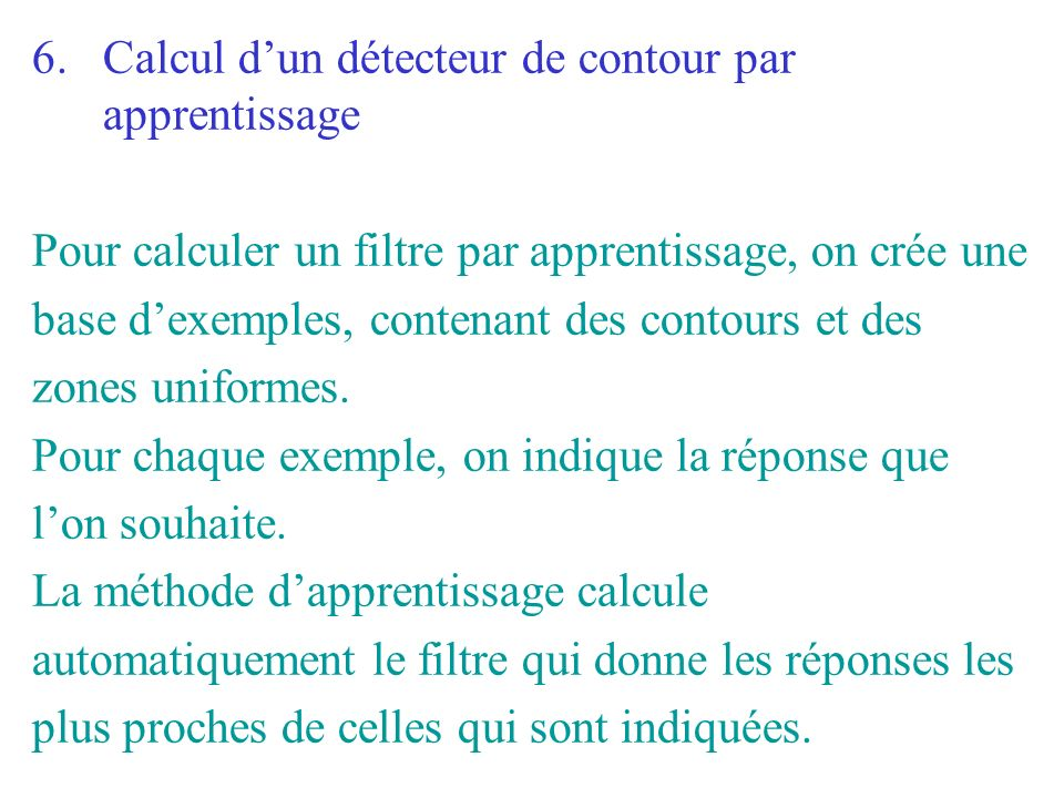 Calcul d'un détecteur de contour par apprentissage