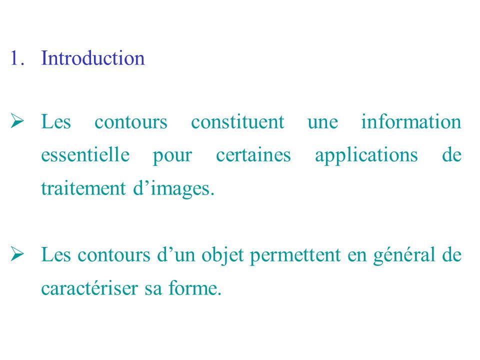 Introduction Les contours constituent une information essentielle pour certaines applications de traitement d'images.