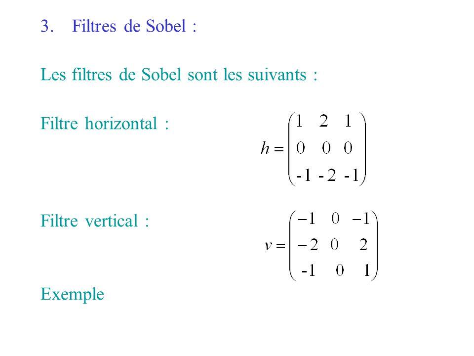 Filtres de Sobel : Les filtres de Sobel sont les suivants : Filtre horizontal : Filtre vertical :