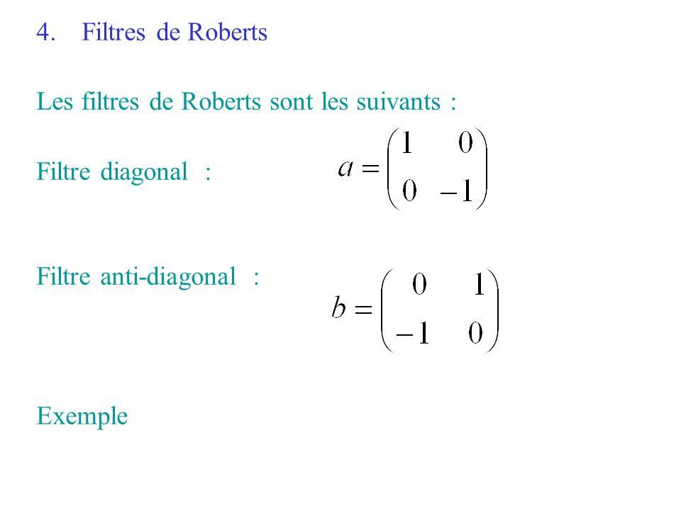 Filtres de Roberts Les filtres de Roberts sont les suivants : Filtre diagonal : Filtre anti-diagonal :