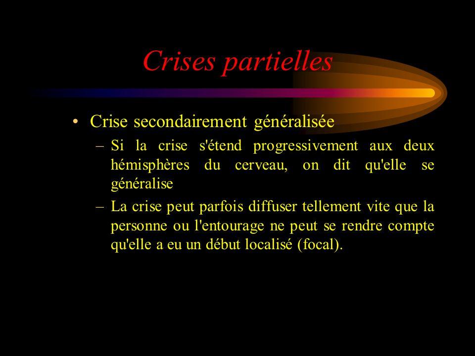 Crises partielles Crise secondairement généralisée