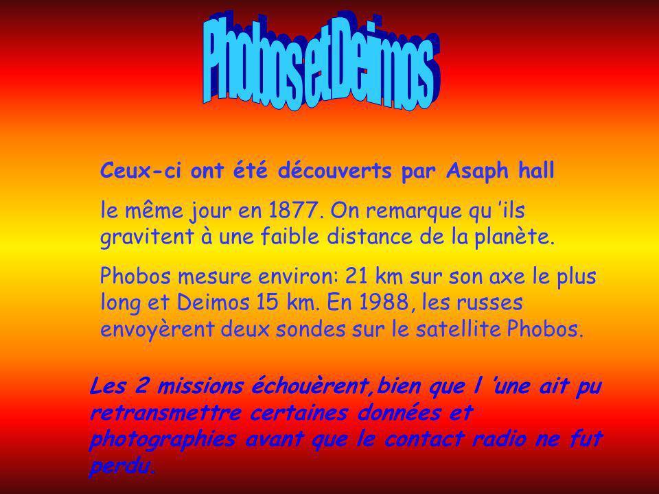 Phobos et Deimos Ceux-ci ont été découverts par Asaph hall