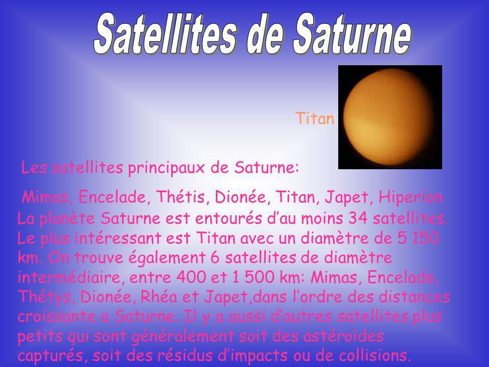 Satellites de Saturne Titan Les satellites principaux de Saturne: