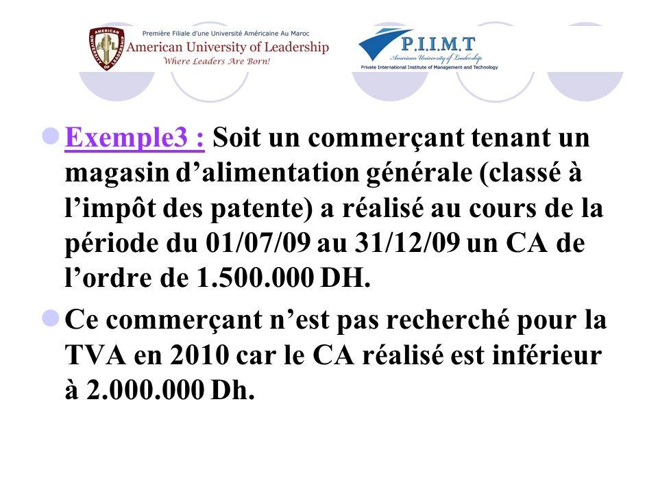 Exemple3 : Soit un commerçant tenant un magasin d'alimentation générale (classé à l'impôt des patente) a réalisé au cours de la période du 01/07/09 au 31/12/09 un CA de l'ordre de 1.500.000 DH.