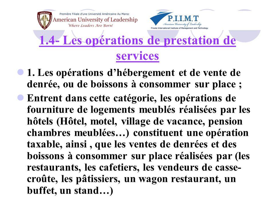 1.4- Les opérations de prestation de services