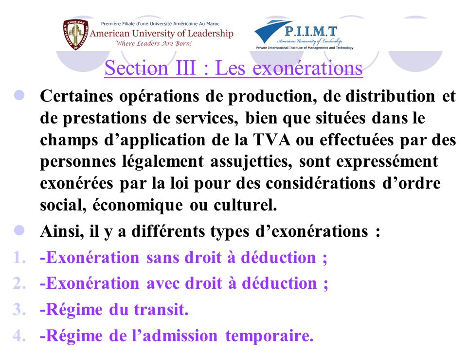 Section III : Les exonérations
