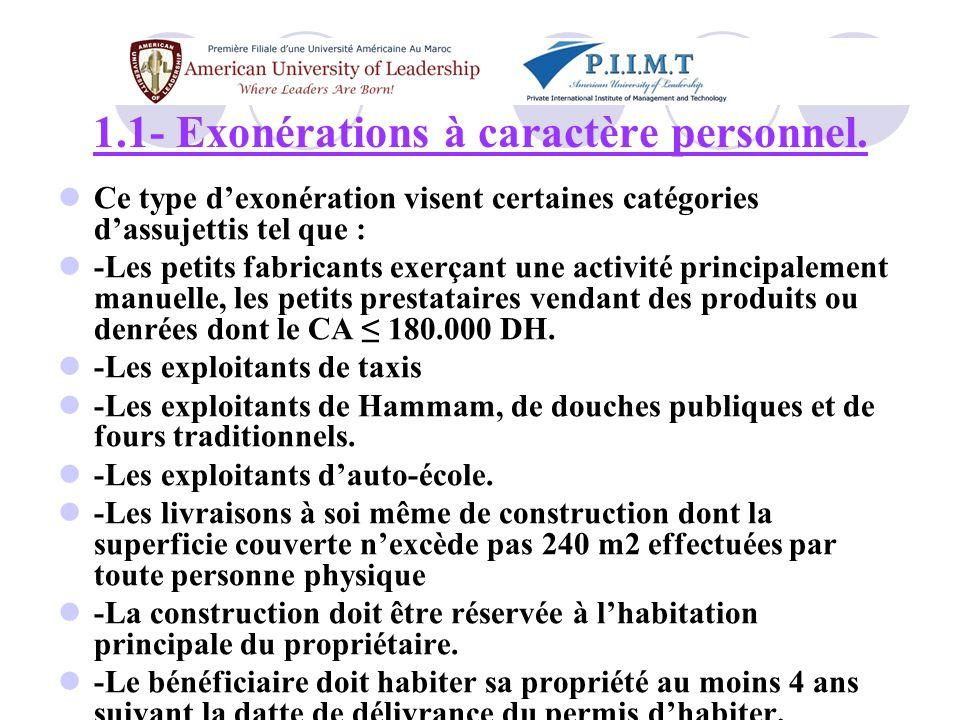 1.1- Exonérations à caractère personnel.