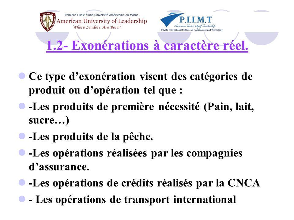 1.2- Exonérations à caractère réel.