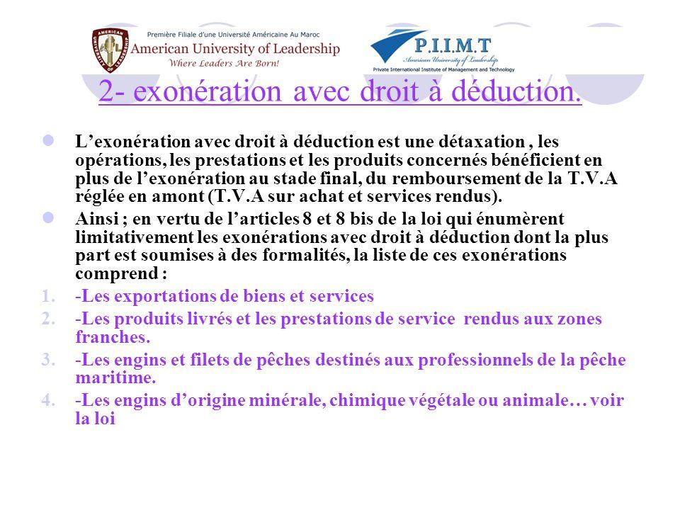 2- exonération avec droit à déduction.