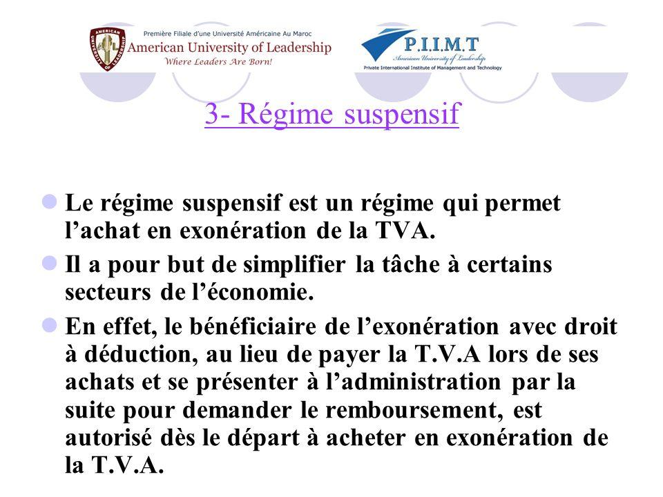 3- Régime suspensif Le régime suspensif est un régime qui permet l'achat en exonération de la TVA.