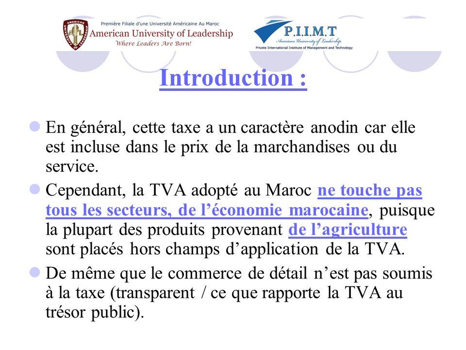 Introduction : En général, cette taxe a un caractère anodin car elle est incluse dans le prix de la marchandises ou du service.