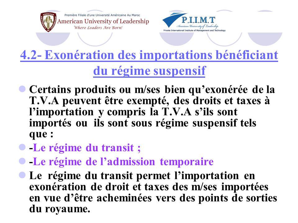 4.2- Exonération des importations bénéficiant du régime suspensif