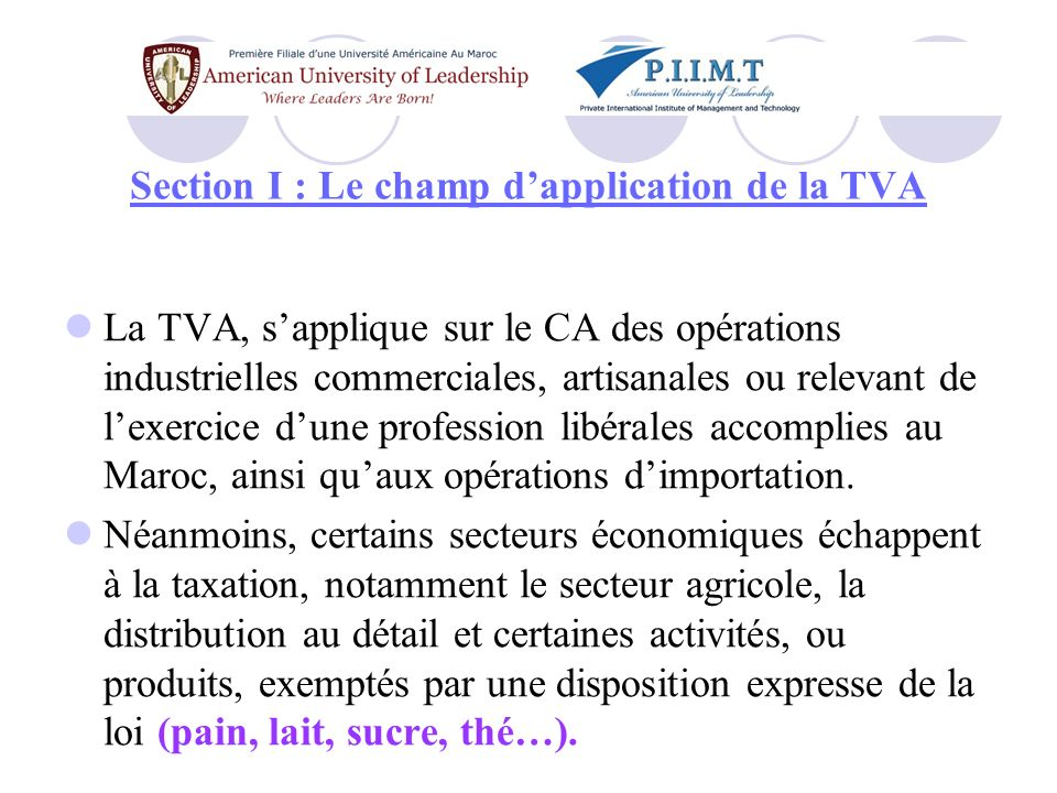 Section I : Le champ d'application de la TVA