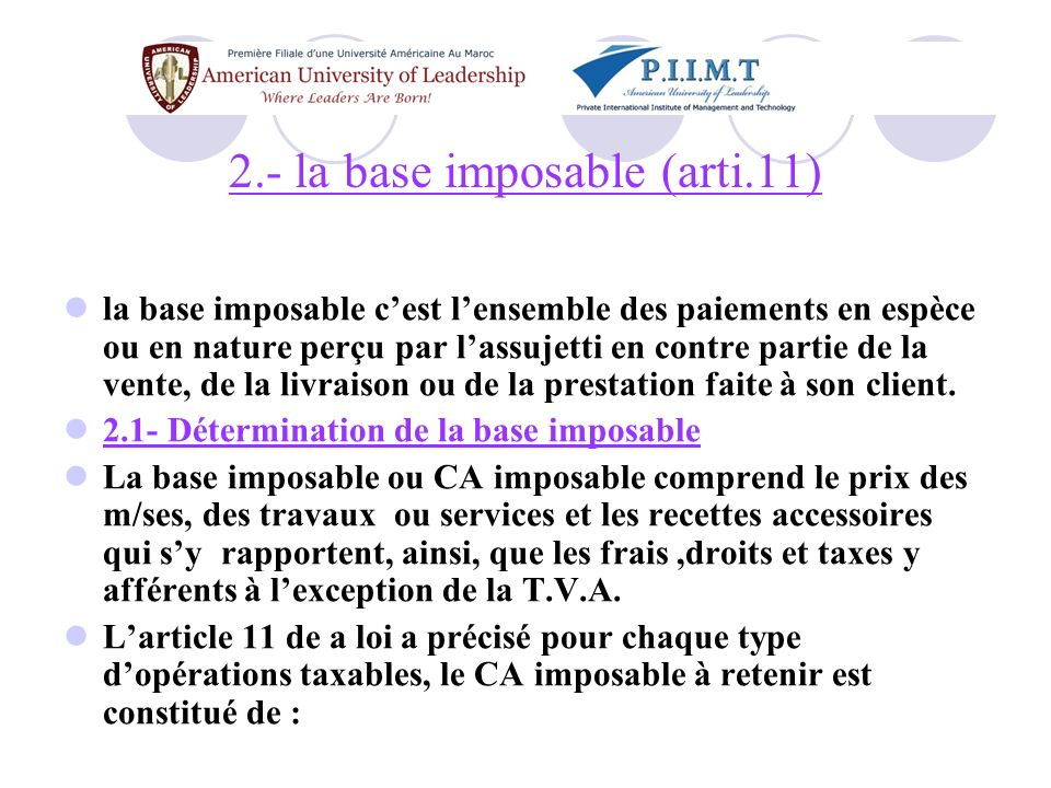 2.- la base imposable (arti.11)