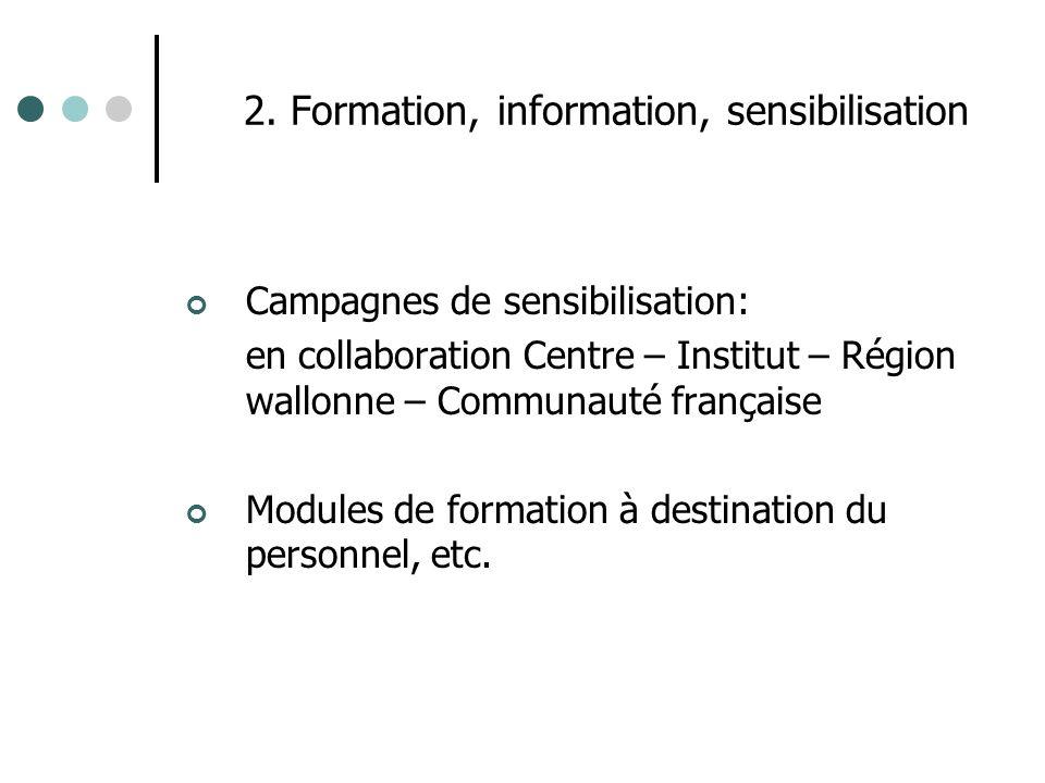 2. Formation, information, sensibilisation