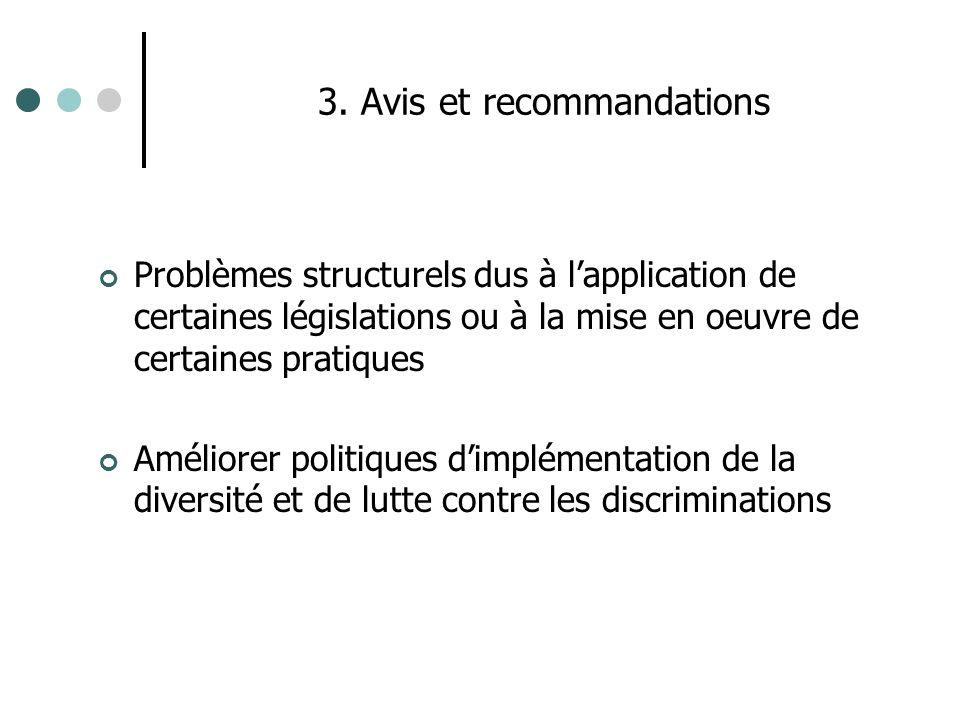 3. Avis et recommandations