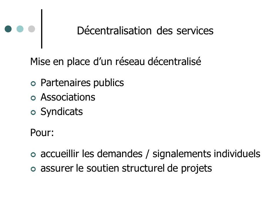 Décentralisation des services