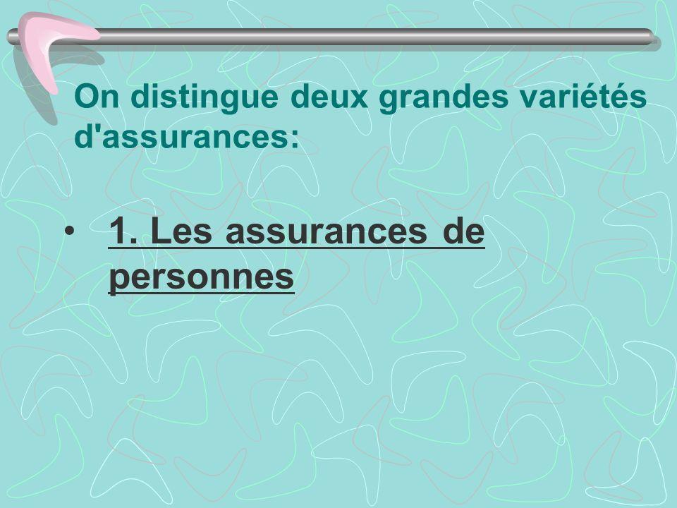 On distingue deux grandes variétés d assurances: