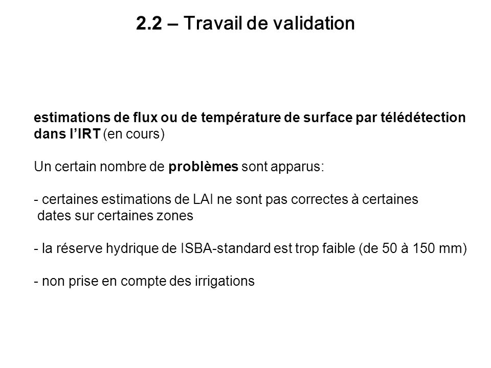 2.2 – Travail de validation