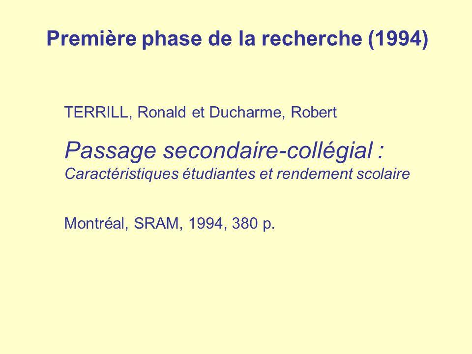 Première phase de la recherche (1994)