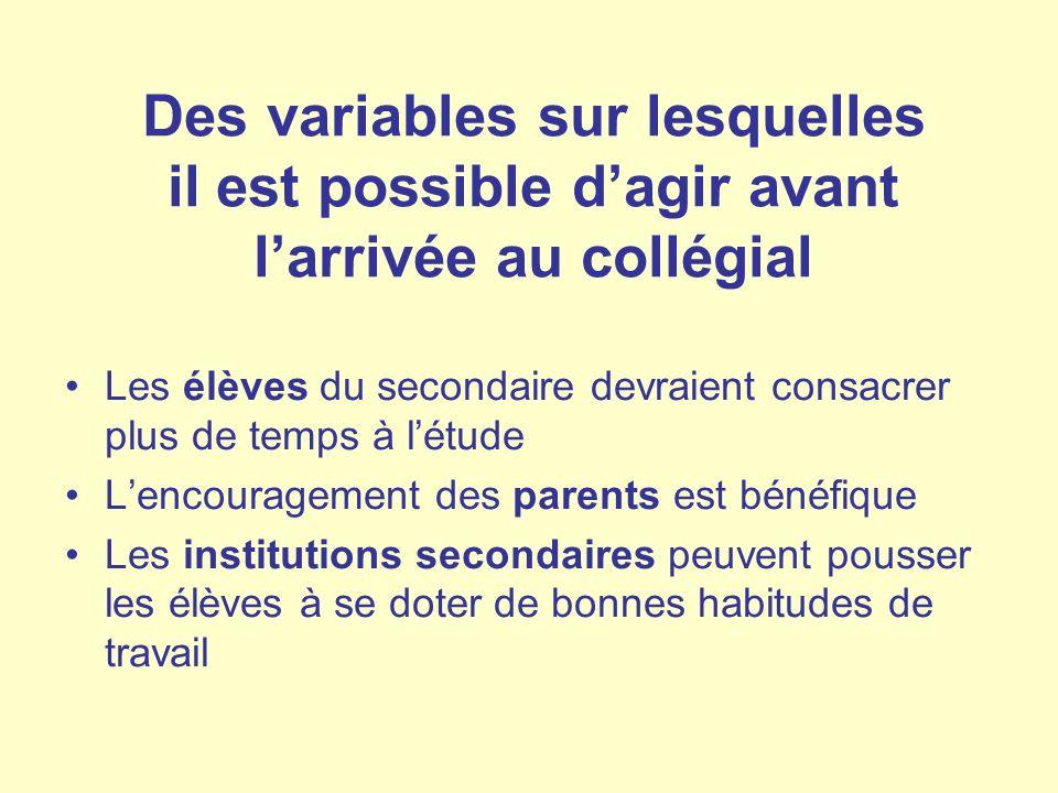 Des variables sur lesquelles il est possible d'agir avant l'arrivée au collégial
