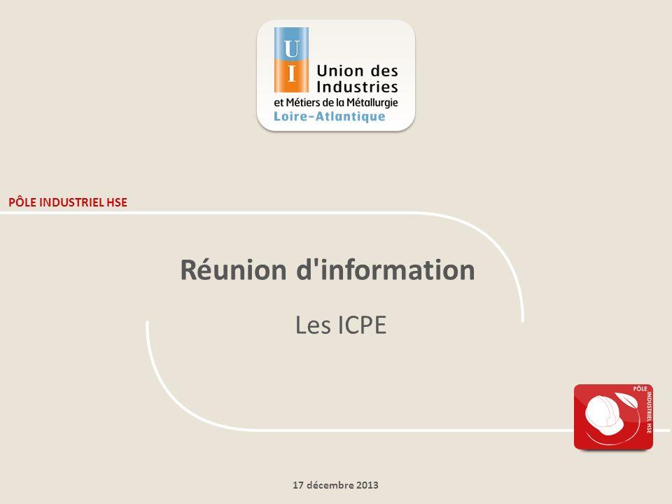 PÔLE INDUSTRIEL HSE Réunion d information Les ICPE 17 décembre 2013