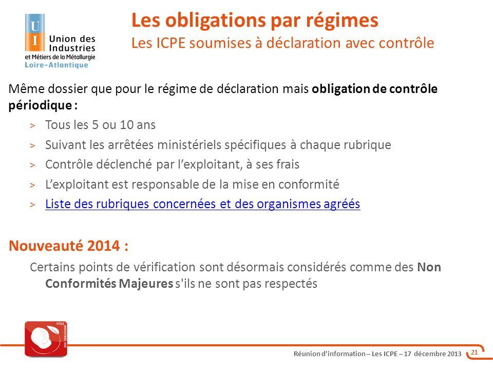 Les obligations par régimes Les ICPE soumises à déclaration avec contrôle