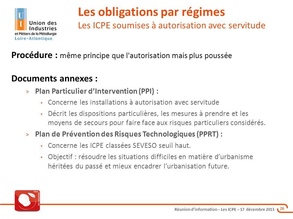 Les obligations par régimes Les ICPE soumises à autorisation avec servitude